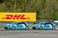 #2 Leopard Racing (LUX). Volkswagen Golf Gti TCR. Jean-Karl Vernay (FRA). and #1 Leopard Racing (LUX). Volkswagen Golf Gti TCR Stefano Comini (SUI). TCR Race 2 as part of the WEC 6 Hours of Spa-Francorchamps 2016 at Circuit Spa-Francorchamps, Stavelot, Spa-Francorchamps, Belgium . May 07 2016. World Copyright Peter Taylor/PSP.