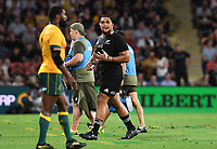 7th November 2020, Brisbane, Australia; Tri Nations International rugby union, Australia versus New Zealand;  Of a Tuungafasi of the All Blacks walks off after being red carded
