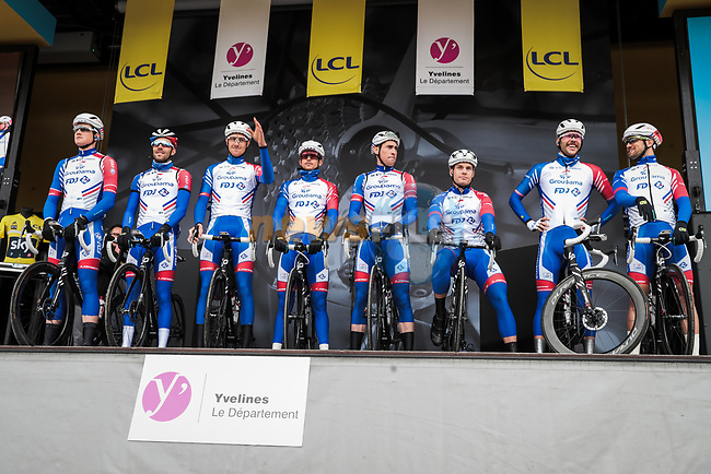 Groupama-FDJ on stage at the Team Presentation before the 78th edition of Paris-Nice 2020, Plaisir, France. 8th March 2020.<br /> Picture: ASO/Fabien Boukla | Cyclefile<br /> All photos usage must carry mandatory copyright credit (© Cyclefile | ASO/Fabien Boukla)