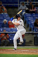 Binghamton Rumble Ponies third baseman Matt Oberste (45) at bat during a game against the Erie SeaWolves on May 14, 2018 at NYSEG Stadium in Binghamton, New York.  Binghamton defeated Erie 6-5.  (Mike Janes/Four Seam Images)