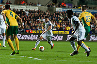 Thursday 24 October 2013  <br /> Pictured:  Alejandro Pozuelo tries to break the  Kuban Krasnodar defence<br /> defence Re:UEFA Europa League, Swansea City FC vs Kuban Krasnodar,  at the Liberty Staduim Swansea