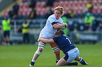 Cath O'Donnell of England is tackled by Leah Bartlett of Scotland  during the Guinness Six Nations match between England Women and Scotland Women at Castle Park Stadium, Doncaster, England on 3 April 2021. Photo by Thomas Gadd / PRiME Media Images.
