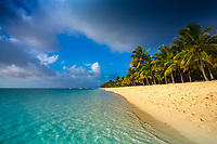 Beautiful white sand beach with turquoise Indian Ocean water and coconut palm trees at the foot of Le Morne Brabant mountain, Mauritius Island, Africa