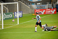 PORTO ALEGRE, RS, 18.04.2021 - GREMIO - NOVO HAMBURGO - O atacante Diego Souza,  da equipe do Grêmio, comemora o seu gol, na partida entre Grêmio e Novo Hamburgo, válida pela 10. rodada, do Campeonato Gaúcho 2021, no estádio Arena do Grêmio, em Porto Alegre, neste domingo (18).