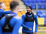 St Johnstone Training...21.05.21<br />Chris Kane and Jason Kerr pictured during training at McDiarmid Park this morning ahead of tomorrow's Scottish Cup Final against Hibs.<br />Picture by Graeme Hart.<br />Copyright Perthshire Picture Agency<br />Tel: 01738 623350  Mobile: 07990 594431
