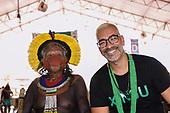 Rio de Janeiro, Brazil. Imperatriz Leopoldinense samba school; preparations for carnival. Chief Raoni Metuktire with Cahê Rodrigues, the Imperatriz carnavalesco.