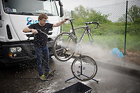 #1 (of last years winner) bike getting a post-race wash<br /> <br /> 101th Liège-Bastogne-Liège 2015