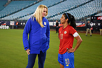JACKSONVILLE, FL - NOVEMBER 10: Lindsey Horan #9 of the USA and Shirley Cruz #10 of Costa Rica exchange pleasantries during a game between Costa Rica and USWNT at TIAA Bank Field on November 10, 2019 in Jacksonville, Florida.