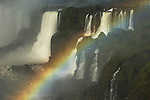 BRAZIL, IGUASSU NATIONAL PARK, IGUASSU FALLS, VIEW OF ARGENTINEAN SIDE, RAINBOW