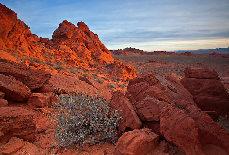 Sandstone rock formations soak up the morning sun at the Valley of Fire State Park, Nevada, USA