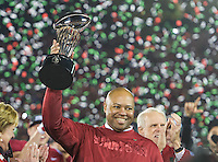 PASADENA, CA - January 1, 2013: Stanford Head Coach David Shaw celebrating the Stanford victory after the Stanford Cardinal vs the Wisconsin Badgers game in the 2013 Rose Bowl Game in Pasadena, California. Final score Stanford 20, Wisconsin 14.