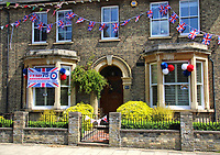 Union Jacks, bunting and other decorationto commemorate the VE Day 75th anniversary during the lockdown restrictions of the coronavirus COVID-19 pandemic. It is 75 years since Victory in Europe over the Germans was announced during World War Two. Bedford, UK on March 8th 2020<br /> <br /> Photo by Keith Mayhew