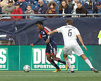 New England Revolution forward/midfielder Kenny Mansally (29) dribbles as Chicago Fire defender Brandon Prideaux (6) defends. The New England Revolution out scored the Chicago Fire, 2-1, in Game 1 of the Eastern Conference Semifinal Series at Gillette Stadium on November 1, 2009.