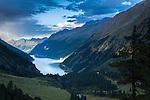 Austria, Tyrol, Kaunertal Valley: view from Kaunertal Glacier Road towards reservoir Gepatsch | Oesterreich, Tirol, Kaunertal in den Ötztaler Alpen: Blick von der Kaunertaler Gletscherstrasse auf den Gepatsch Stausee