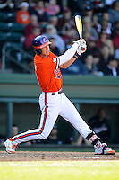 Freshman third baseman Weston Wilson (8) of the Clemson Tigers in the Reedy River Rivalry game against the South Carolina Gamecocks on March 1, 2014, at Fluor Field at the West End in Greenville, South Carolina. South Carolina won, 10-2.  (Tom Priddy/Four Seam Images)