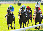 03 October 10: Ave and jokcey Jsavier Castellano(inside, white cap) surge to a win in the Flower Bowl Handicap at Belmont Park in Elmont, New York