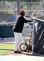 Lee Smith, pitching coach in the San Francisco Giants minor league system, observes workouts during extended spring training at the Giants minor league complex at Indian Bend Park on May 25, 2018 in Scottsdale, Arizona (Bill Mitchell)