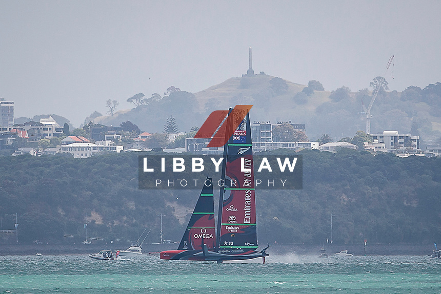 Emirates Team New Zealand warms up for race 6 of the Round Robin competition of the PRADA America's Cup World Series in Auckland, New Zealand on Friday 18th December 2020. Copyright Photo: Libby Law Photography