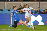 SAN JOSE, CA - DECEMBER 6: Lucy Parker #15 of the UCLA Bruins defends Carly Malatskey #6 of the Stanford Cardinal during a game between UCLA and Stanford Soccer W at Avaya Stadium on December 6, 2019 in San Jose, California.