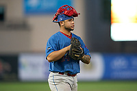 Clearwater Threshers catcher Rafael Marchan (24) during a Florida State League game against the Palm Beach Cardinals on August 9, 2019 at Roger Dean Chevrolet Stadium in Jupiter, Florida.  Palm Beach defeated Clearwater 3-0 in the second game of a doubleheader.  (Mike Janes/Four Seam Images)