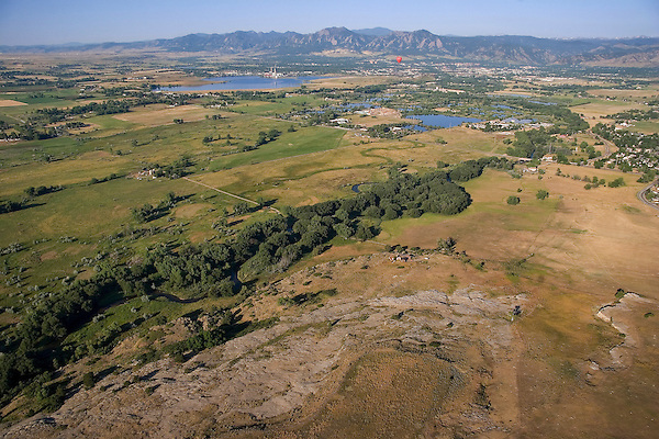 Aerial view of Boulder, Colorado John offers private photo tours of Boulder, Denver and Rocky Mountain National Park.