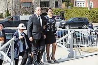 Jean-Francois lepine and Mireille Deyglun<br /> Janine Sutto's daughter<br /> attend Sutto funerals, April 10, 2017.<br /> <br /> <br /> PHOTO  :  Agence Quebec Presse