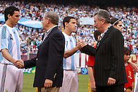 Senator Bob Menendez of New Jersey shakes hands with Argentina defender Nicolas Burdisso (4). The men's national teams of the United States and Argentina played to a 0-0 tie during an international friendly at Giants Stadium in East Rutherford, NJ, on June 8, 2008.