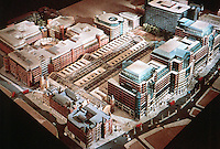 London:  Liverpool & Broad St. Stations--Broadgate Development Model. SOM & ARUP Associates, 1988.  Liverpool St., lower left; Bishopsgate, right. Photo '90.