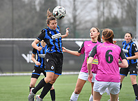 Jody Vangheluwe (22 Brugge) pictured in a duel with Aalst's Daisy Baudewijns during a female soccer game between Club Brugge Dames YLA and Eendracht Aalst Ladies on the 9 th matchday of the 2020 - 2021 season of Belgian Scooore Womens Super League , saturday 12 December 2020  in Brugge , Belgium . PHOTO SPORTPIX.BE | SPP | DAVID CATRY