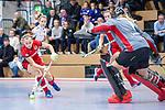 Mannheim, Germany, December 01: During the Bundesliga indoor women hockey match between Mannheimer HC and Nuernberger HTC on December 1, 2019 at Irma-Roechling-Halle in Mannheim, Germany. Final score 7-1. +m4+<br /> <br /> Foto © PIX-Sportfotos *** Foto ist honorarpflichtig! *** Auf Anfrage in hoeherer Qualitaet/Aufloesung. Belegexemplar erbeten. Veroeffentlichung ausschliesslich fuer journalistisch-publizistische Zwecke. For editorial use only.