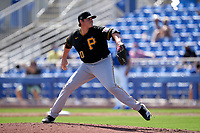 Pittsburgh Pirates pitcher Kyle Crick (30) during a Major League Spring Training game against the Toronto Blue Jays on March 1, 2021 at TD Ballpark in Dunedin, Florida.  (Mike Janes/Four Seam Images)