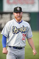 Paul Hoenecke (22) of the Rancho Cucamonga Quakes before a game against the Lancaster JetHawks at The Hanger on April 19, 2016 in Lancaster, California. Rancho Cucamonga defeated Lancaster, 10-6. (Larry Goren/Four Seam Images)