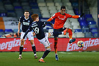 23rd February 2021; Kenilworth Road, Luton, Bedfordshire, England; English Football League Championship Football, Luton Town versus Millwall; Ryan Woods of Millwall challenges Thomas Ince of Luton Town