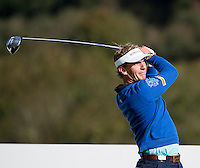 17.10.2014. The London Golf Club, Ash, England. The Volvo World Match Play Golf Championship.  Day 3 group stage matches.  Joost Luiten [NED] seventh tee.