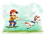 Illustration of boy with dog roller skating