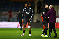31st October 2020; Kenilworth Road, Luton, Bedfordshire, England; English Football League Championship Football, Luton Town versus Brentford; At full time Ivan Toney of Brentford is seen with a ice pack taped to his knee