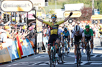 2nd September 2020; Gap to Provas, France. Tour de France cycling tour, stage 5;  Jumbo - Visma 2020, Sunweb Van Aert, Wout Bol, Cees Privas cross the finish line in Provas