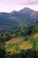 Europe/France/Auvergne/15/Cantal/Parc Naturel Régional des Volcans/Col du Perthus: Le massif du Puy Mary (1787 mètres) et la vallée de Mandailles depuis le Col du Perthus