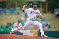Montgomery Biscuits relief pitcher Jose Disla (30) during a Southern League game against the Mobile BayBears on May 2, 2019 at Riverwalk Stadium in Montgomery, Alabama.  Mobile defeated Montgomery 3-1.  (Mike Janes/Four Seam Images)