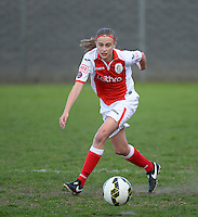20150428 - VARSENARE , BELGIUM : Standard's Julie Biesmans pictured in action during the soccer match between the women teams of Club Brugge Vrouwen and Standard de Liege Femina , on the 24th matchday of the BeNeleague competition Tuesday 28 th April 2015 in Varsenare . PHOTO DAVID CATRY