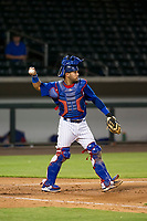 AZL Cubs catcher Richard Nunez (8) throws a ball to the pitcher during a game against the AZL Padres 2 on August 28, 2017 at Sloan Park in Mesa, Arizona. AZL Cubs defeated the AZL Padres 2 9-4. (Zachary Lucy/Four Seam Images)