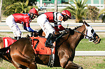 Feb 2010:  Jody Slew and Miguel Mena win the SilverBulletDay Stakes at the Fairgrounds in New Orleans, La.