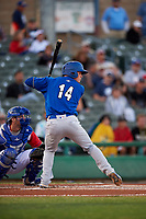 Rancho Cucamonga Quakes shortstop Gavin Lux (14) at bat during a California League game against the Stockton Ports at Banner Island Ballpark on May 16, 2018 in Stockton, California. Rancho Cucamonga defeated Stockton 6-3. (Zachary Lucy/Four Seam Images)