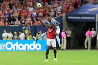 Houston, TX - Thursday July 20, 2017: Romelu Lukaku and Eliaquim Mangala during a match between Manchester United and Manchester City in the 2017 International Champions Cup at NRG Stadium.