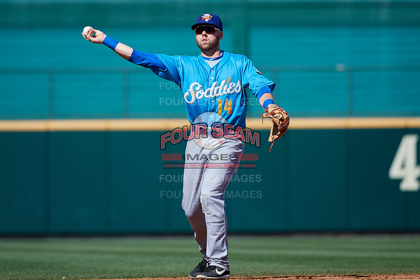 Amarillo Sod Poodles Owen Miller (14) during a Texas League game against the Frisco RoughRiders on May 19, 2019 at Dr. Pepper Ballpark in Frisco, Texas.  Amarillo defeated Frisco 10-5.  (Mike Augustin/Four Seam Images)