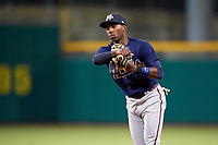 Mississippi Braves second baseman Travis Demeritte (11) throws during a game against the Montgomery Biscuits on April 24, 2017 at Montgomery Riverwalk Stadium in Montgomery, Alabama.  Montgomery defeated Mississippi 3-2.  (Mike Janes/Four Seam Images)