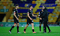 Lincoln City's Hayden Cann, left, Lincoln City's Sean Roughan, centre, and Lincoln City manager Michael Appleton at the end of the game<br /> <br /> Photographer Andrew Vaughan/CameraSport<br /> <br /> EFL Trophy Northern Section Group E - Mansfield Town v Lincoln City - Tuesday 6th October 2020 - Field Mill - Mansfield  <br />  <br /> World Copyright © 2020 CameraSport. All rights reserved. 43 Linden Ave. Countesthorpe. Leicester. England. LE8 5PG - Tel: +44 (0) 116 277 4147 - admin@camerasport.com - www.camerasport.com