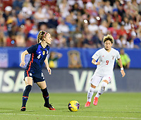 FRISCO, TX - MARCH 11: Becky Sauerbrunn #4 of the United States looks to pass the ball against Japan during a game between Japan and USWNT at Toyota Stadium on March 11, 2020 in Frisco, Texas.
