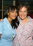 Nicolette Robinson with director Diane Paulus  backstage after making her Broadway debut in 'Waitress' on September 4, 2081 at the Brooks Atkinson Theatre in New York City.