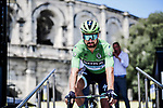 Green Jersey Peter Sagan (SVK) Bora-Hansgrohe at sign on before the start of Stage 16 of the 2019 Tour de France running 177km from Nimes to Nimes, France. 23rd July 2019.<br /> Picture: ASO/Pauline Ballet   Cyclefile<br /> All photos usage must carry mandatory copyright credit (© Cyclefile   ASO/Pauline Ballet)